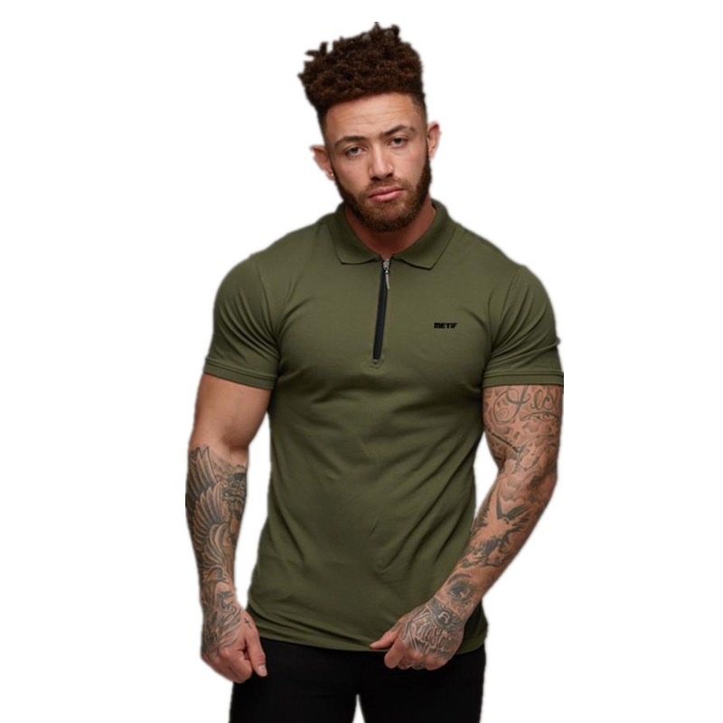2019 New Man Polo Shirt Mens Casual Fashion Breathable Cotton Polo Shirt Men Zipper Short Sleeve High Quantity Polo Men