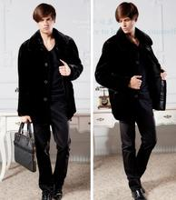 Autumn faux mink fur leather jacket mens winter thicken warm coat men slim jackets jaqueta de couro fashion black