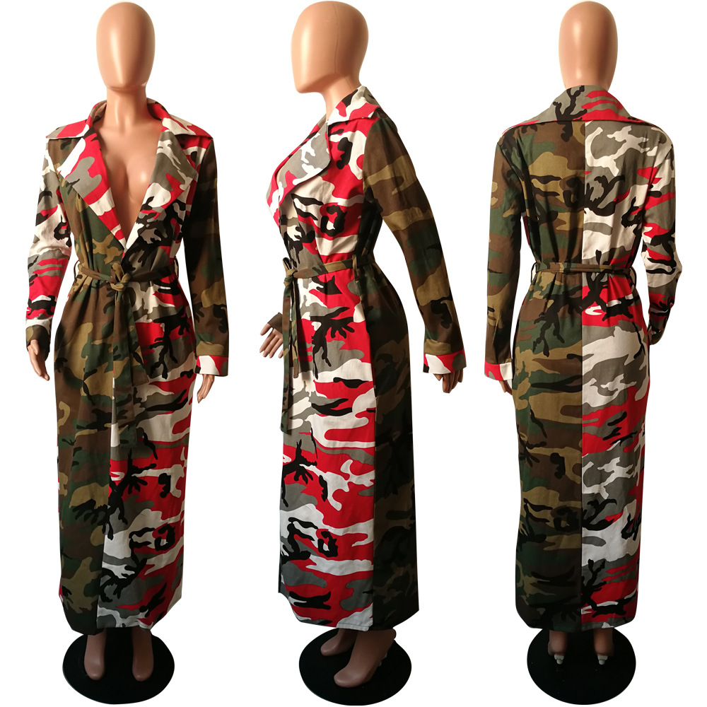 Coats Ladis Fashion Coat Club Women Multi Top Autumn Sexy Camouflage Winter Bodycon Long Nhm5181 Sashes 2018 PfwHqqxI