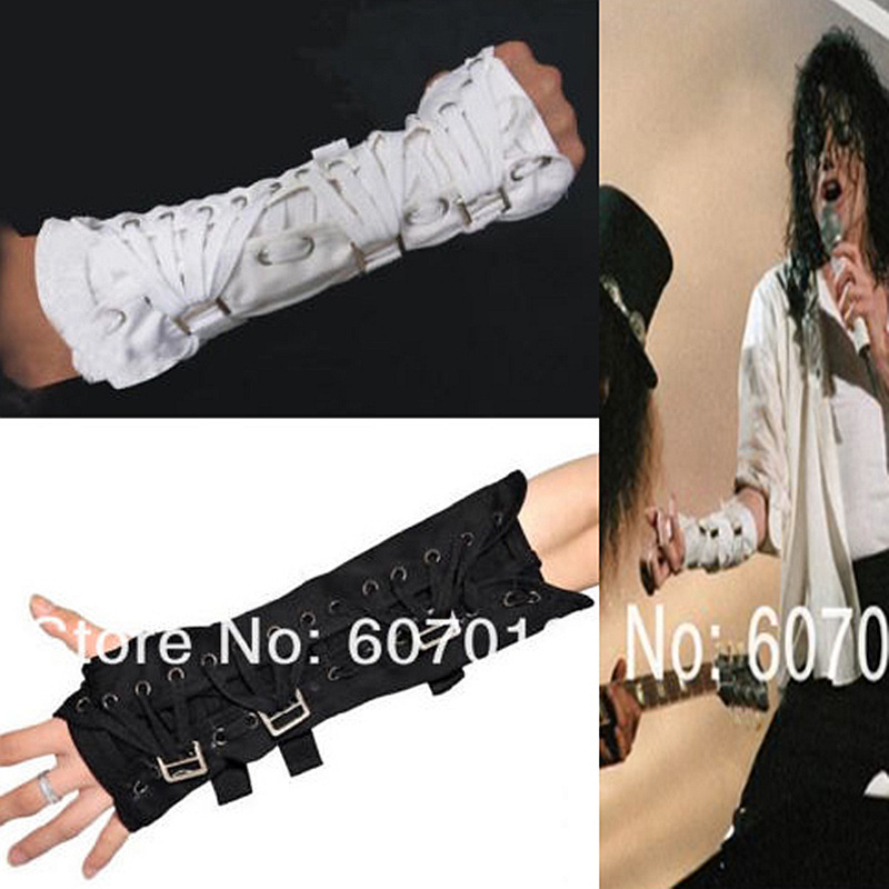 Rare MJ Michael Jackson Punk Armbrace BAD Jam Black White Cotton Glove For Fans Punk For Performance Party Show Imitation