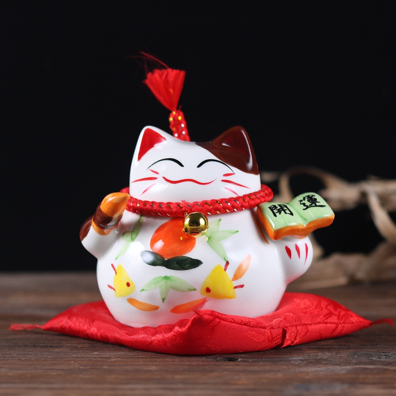 Sell Well Chinese Handpainted Ceramic Cat Home Decor Coin Bank Office Coin Box for Money Children Gifts Lucky Cat Saving Box