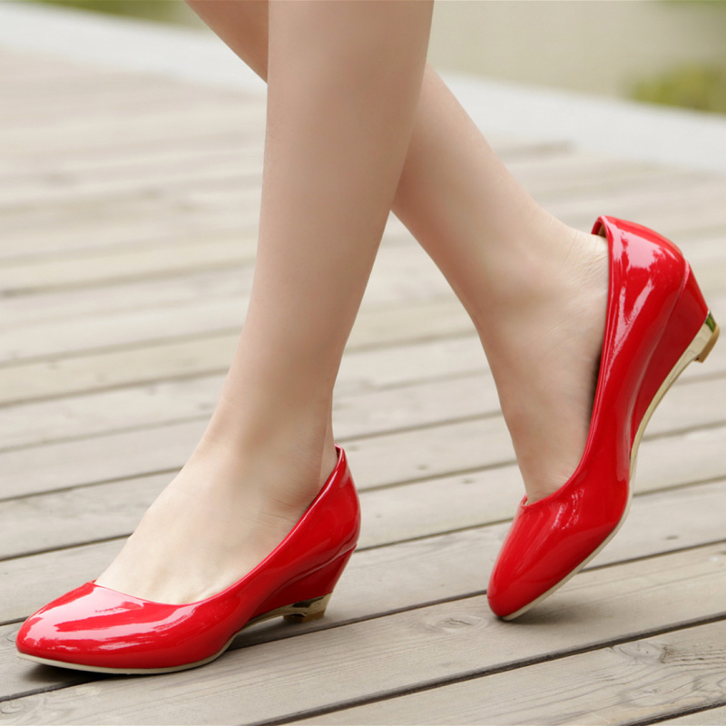 Image 5 - Casual Wedge Shoes For Women Fashion Wedges Low Heels Red White Classic Pumps Party Wedding Office Shoes Ladies Large Size 45 48Womens Pumps   -