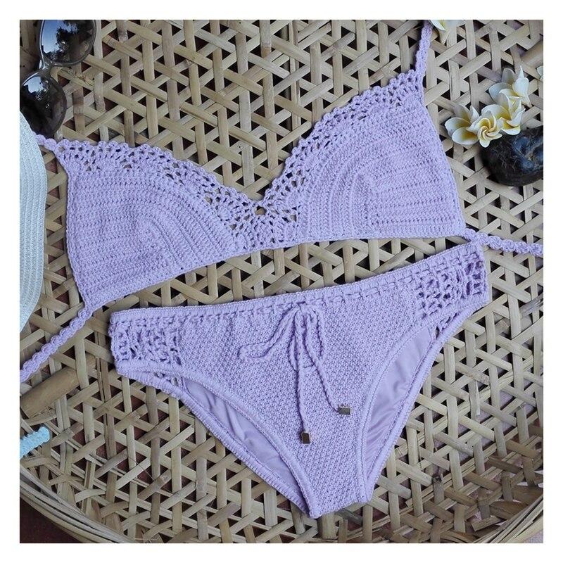 Ručně vyráběné háčkované sexy bikiny sady 100% bavlněné koupací obleky nastavitelný tvarovaný fanoušek lemování plážové oblečení  t