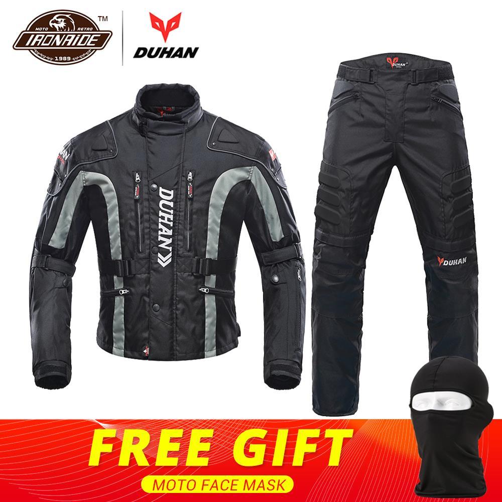 DUHAN Moto veste Kits coupe-vent équipement de protection veste + pantalon ensemble protecteur de hanche équitation costume Moto pantalon Moto veste