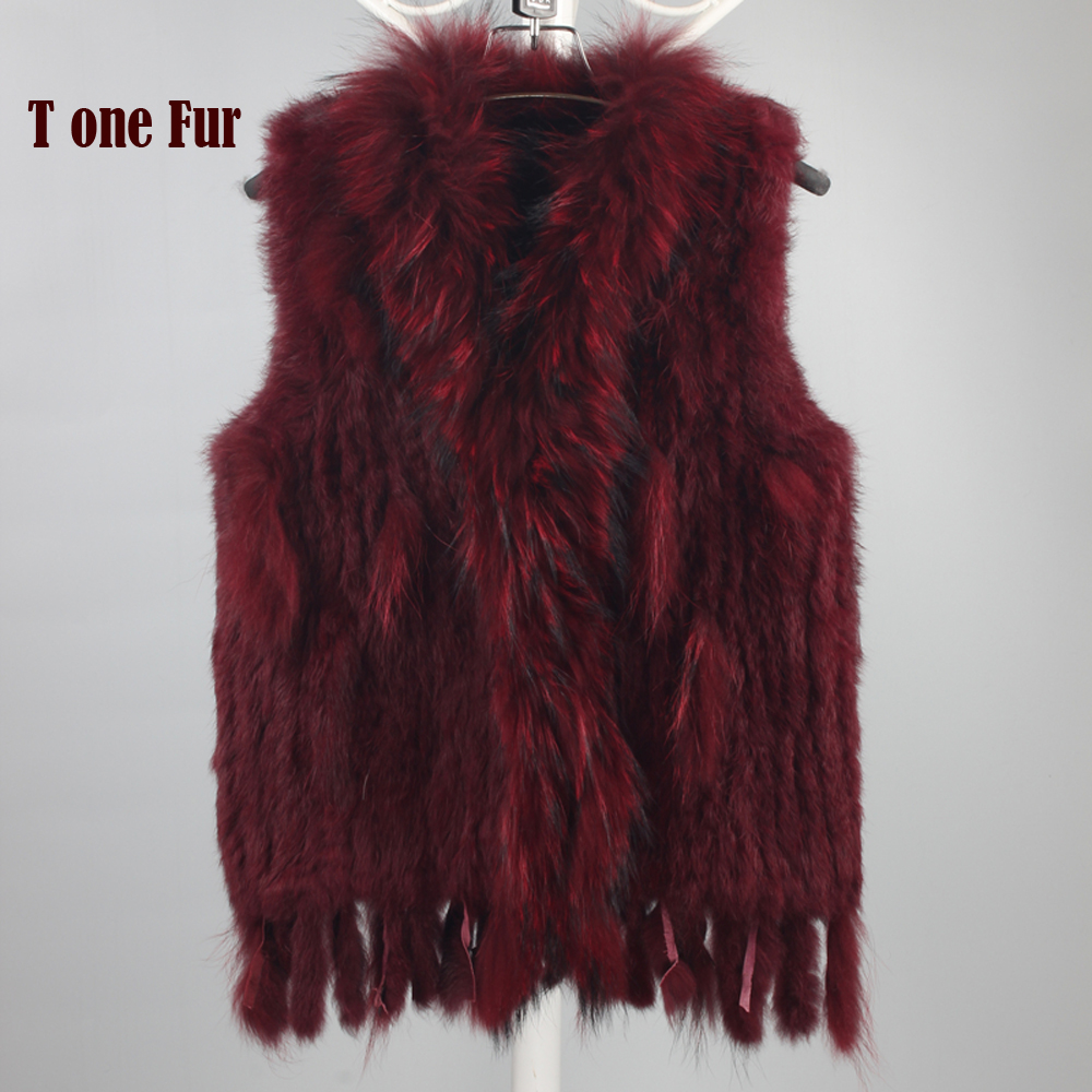 New Genuine Knitted Rabbit Fur Vest With Raccoon Fur Collar Real Rabbit Fur Gilet Winter Fur Waistcoat KFP781