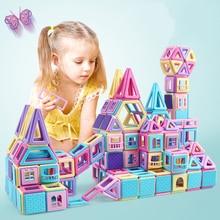 Nashan 258PCS Pink Magnetic Designer Construction Set Model Magnet Toy Plastic Magnetic Blocks Mini Educational Toys For Kids