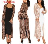 Fengguilai Women Sparkly Gold Sequin Jacket Sexy Open Front Long Coat Spring Autumn Casual Glitter Kimono Party Club Top Female