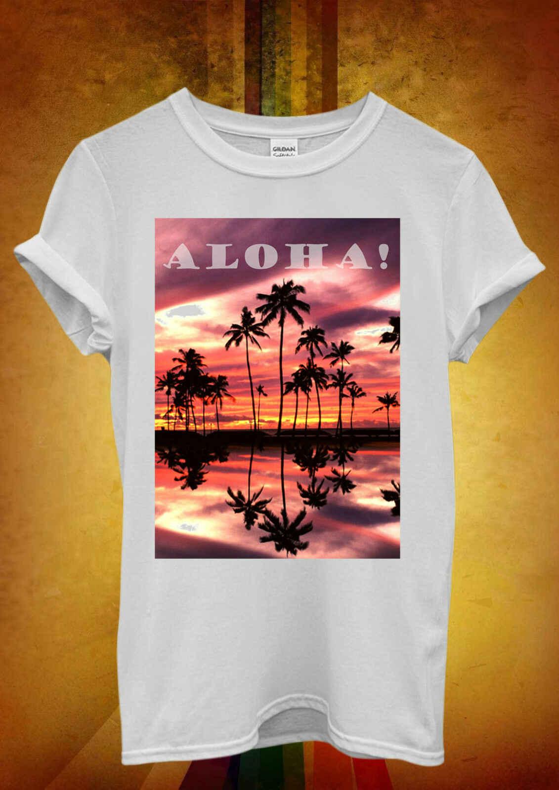 Aloha закат Гавайи пальмы расслабляющие мужские футболки 369, мужские Забавные футболки в стиле хип-хоп дешевые оптом