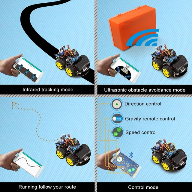 Robot Cars Remote Control Ultrasonic Bluetooth Robotics Learning Kit
