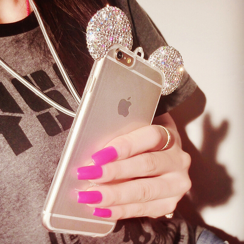luxury HIgh Quality 3D Mickey Mouse Ear Case For iPhone 6 6S 4.7 Inch Rhinestone Ears Soft Transparent TPU Protect Phone Covers