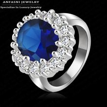 Luxury British Kate Princess Diana William Engagement Ring with Silver Color Crystal Wedding Rings for Women Ri-HQ0016