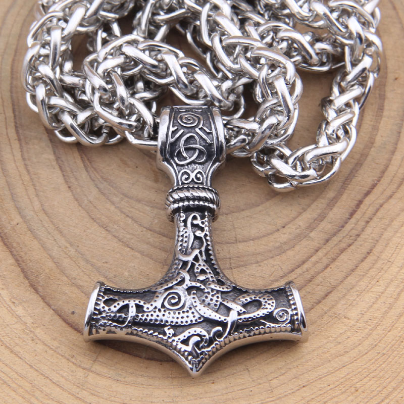 dropshipping stainless steel thors hammer mjolnir pendant necklace viking scandinavian norse viking necklace Men gift