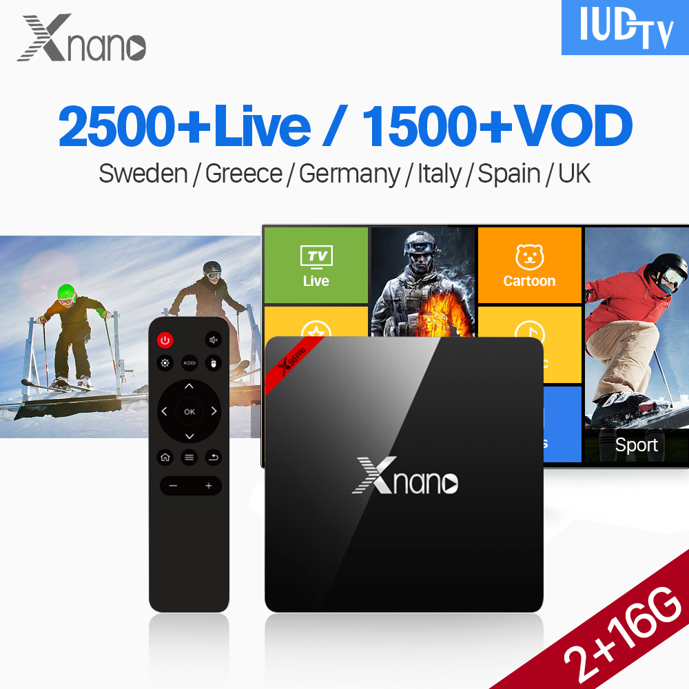 Xnano Android 6.0 IPTV Spain Italia Box S905X 2G 16G BT4.0 Wifi TV Receiver with IUDTV IPTV Subscription UK Italia Spain Sweden cife spain business набор для декорирования cife spain business deco frenzy роскошная расческа с ободком