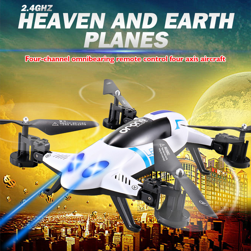 Racing Drone Car 2.4G 4CH 6-Axis Flying Car Quadcopter Land / Sky 2 in 1 RC Aircraft Remote Control Helicopter RFT