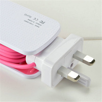Universal 2 Way Multi USB Mobile Phone Hub Charger 5V 6A EU US UK AC Wall
