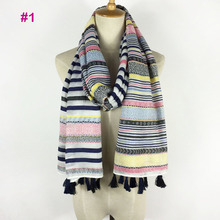 Very beautiful hot selling stripe soft material stripe tassel scarf women 8 colors