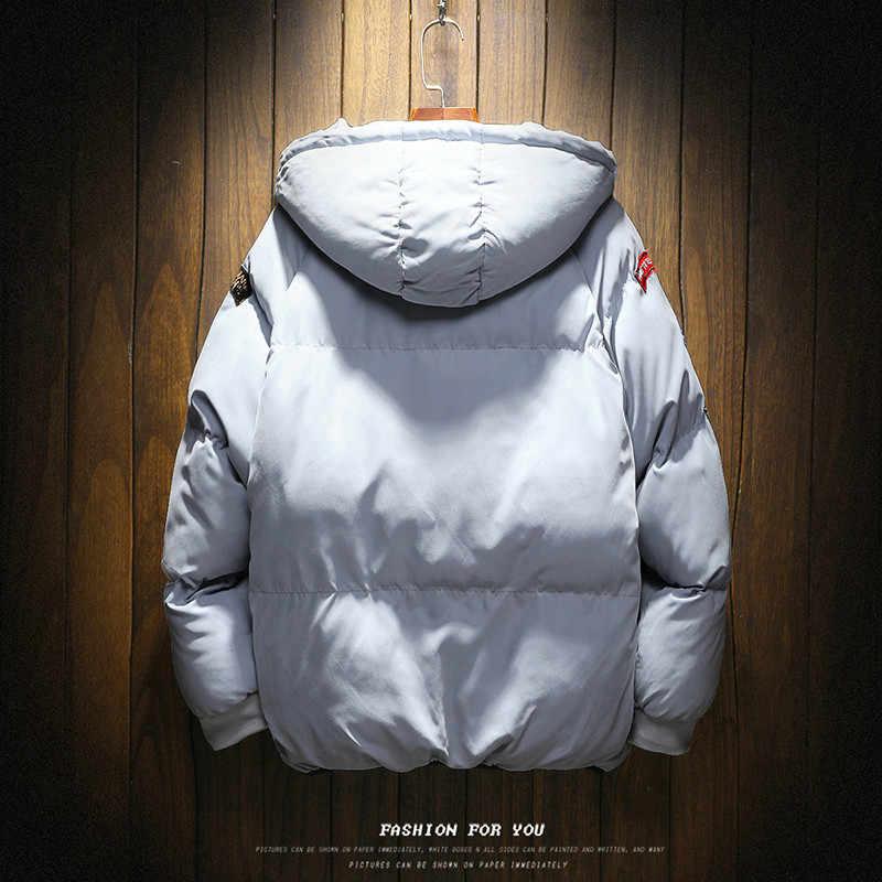 חורף מעיל גברים אופנה חם מעיל כותנה מרופדת להאריך ימים יותר Mens מעילי מעילי מותג סלעית צווארון Slim בגדים עבה מעיילי m-5XL