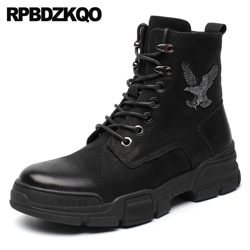 combat boots fur zipper ankle fashion designer shoes men high quality embellished winter full grain leather military tactical