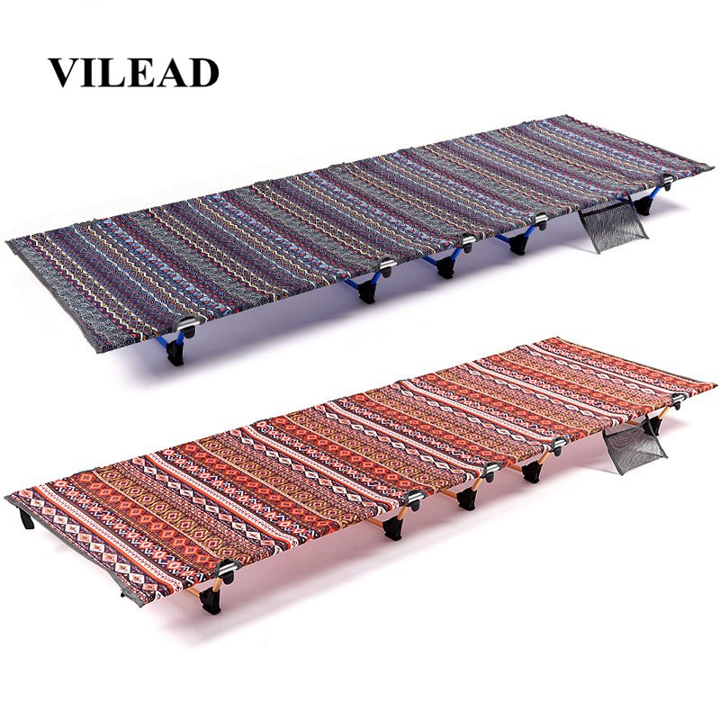 VILEAD Portable Folding Camping Cot 187*61 Cm Ultralight Aluminum Comfortable Bed For Camping Self-driving Travel Outdoor Beds