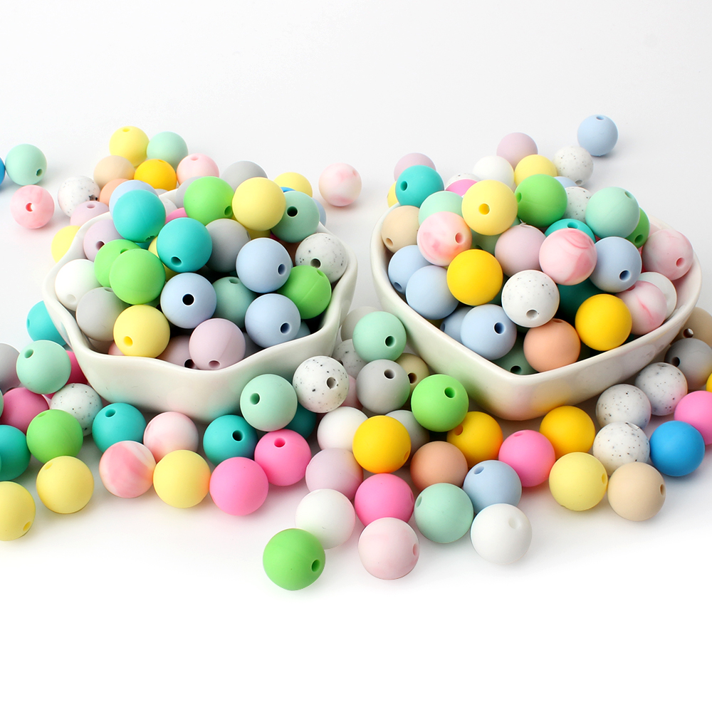 Keep&Grow 50pcs Silicone Beads 12mm Food Grade Round Silicone Beads DIY Baby Pendant Necklace Silicone Teether