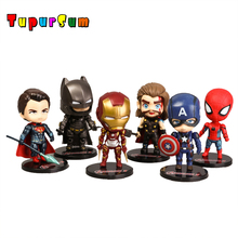 цена на Q Version Action Figure Superhero Spiderman Iron Man Figure Solar Energy Shake head Toy 12cm Chritmas Gift Toys Dolls