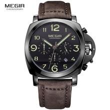 ساعة رجالي أصلية من MEGIR ساعات كوارتز فاخرة من علامة تجارية فاخرة بحزام من الفولاذ المقاوم للصدأ ومقاومة للماء ساعات يد