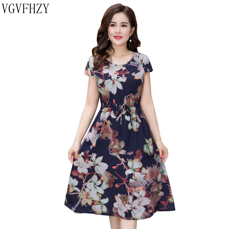 2018 Summer Middle Aged Women Print Loose Dress O-Neck Short Sleeve Mothers Casual Dresses fashion Plus Size XL-4XL long dress ...