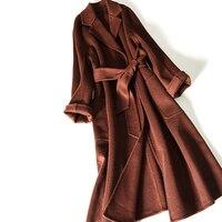 High Grade 2face Water Ripple Cashmere Women Fashion Overcoat Suit Collar Big Pockets Dark Caramel 3color