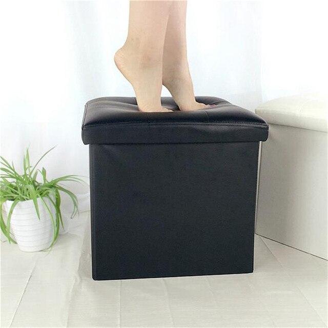 Faux Leather Storage Blanket Folding Ottoman Box Organizer Footstool Stool Cube Pouf Sofa Home Furniture Large