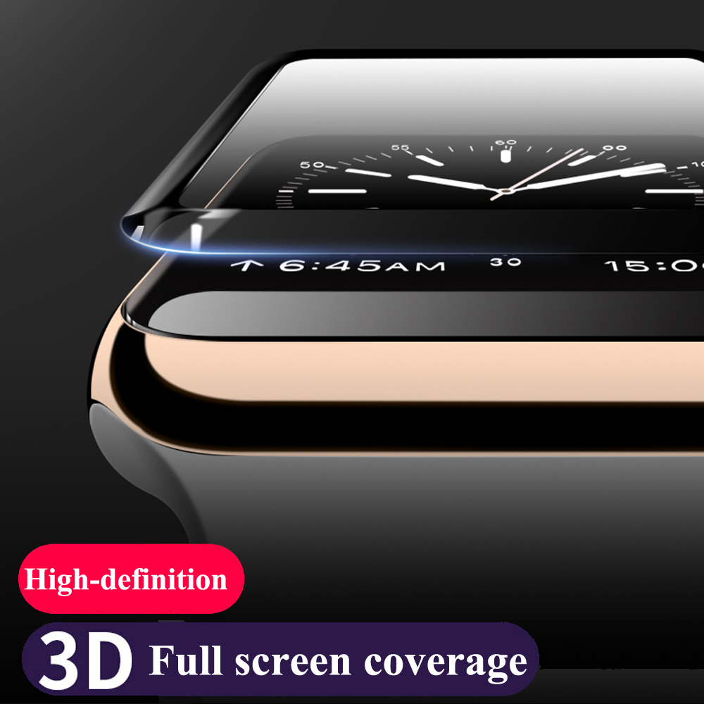 Watch film for apple watch 42mm 38mm 3D glass curved surface Anti-Shock Tempered full Screen Protector film for iwatch 3/2/1 3d curved full coverage tempered glass film for apple watch flim screen protector 38mm 42mm 44mm 40 9h for iwatch series 4 3 2 1