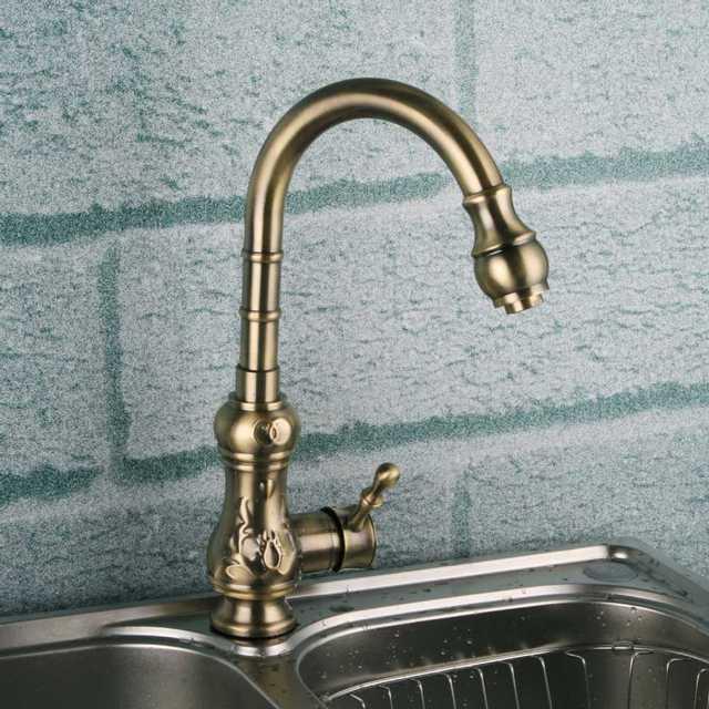 Bronze Messing küchenarmatur. poliert kürbisförmigen langen hals ...