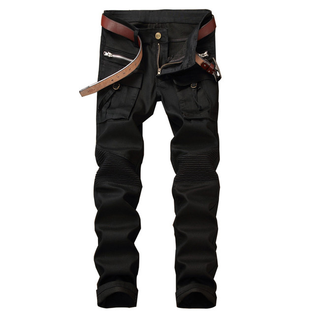 23b0dbeff981c1 Newsosoo New Fashion Men's Cargo Biker Jeans Pants Black Casual Motorcycle  Denim Trousers For Man Multi Pockets And Zippers