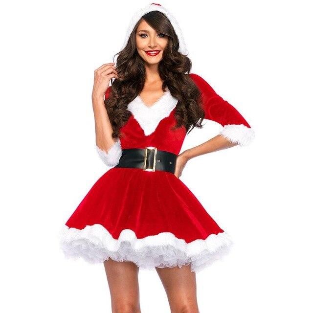 Mrs Santa Claus Costume Merry Xmas Cute Girl Santa Dress With Belt