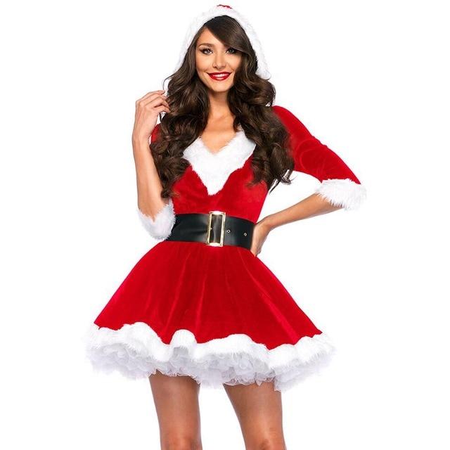 f960fb639fd Mrs Santa Claus Costume Merry Xmas Cute Girl Santa Dress with Belt Santa  Claus Role Play Fancy Dress Christmas Costumes One Size