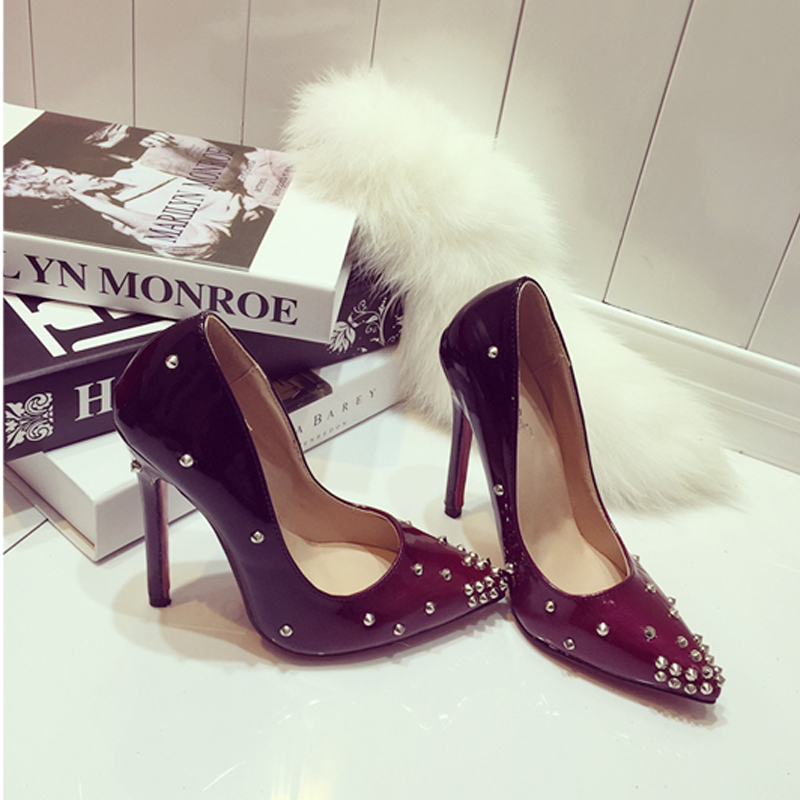 New Design Rivets Style Thin High Heels Pointed Toe Sexy font b Women b font Pumps