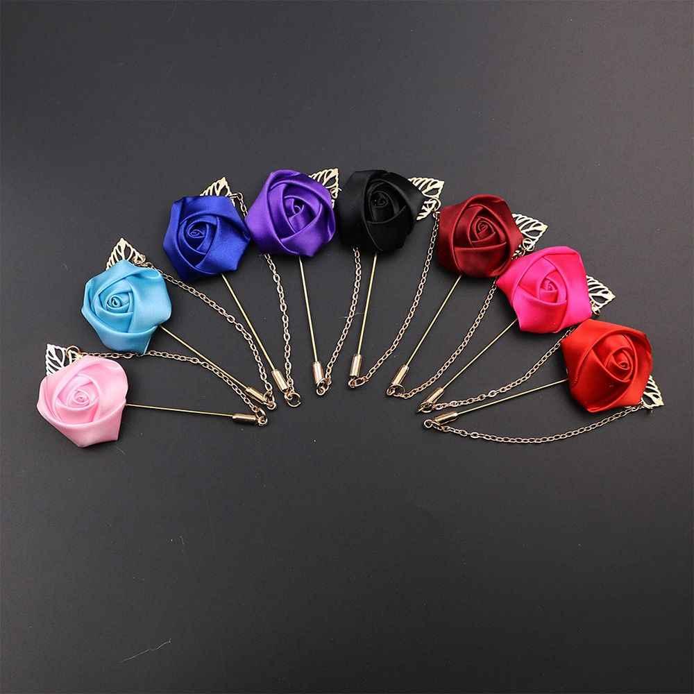 Vestito degli uomini di Rosa Del Fiore Spille Spilli Tessuto della Tela di canapa Nastro Cravatta Più Colori Spilla per Le Donne E Gli Uomini Vestiti di Vestito accessori