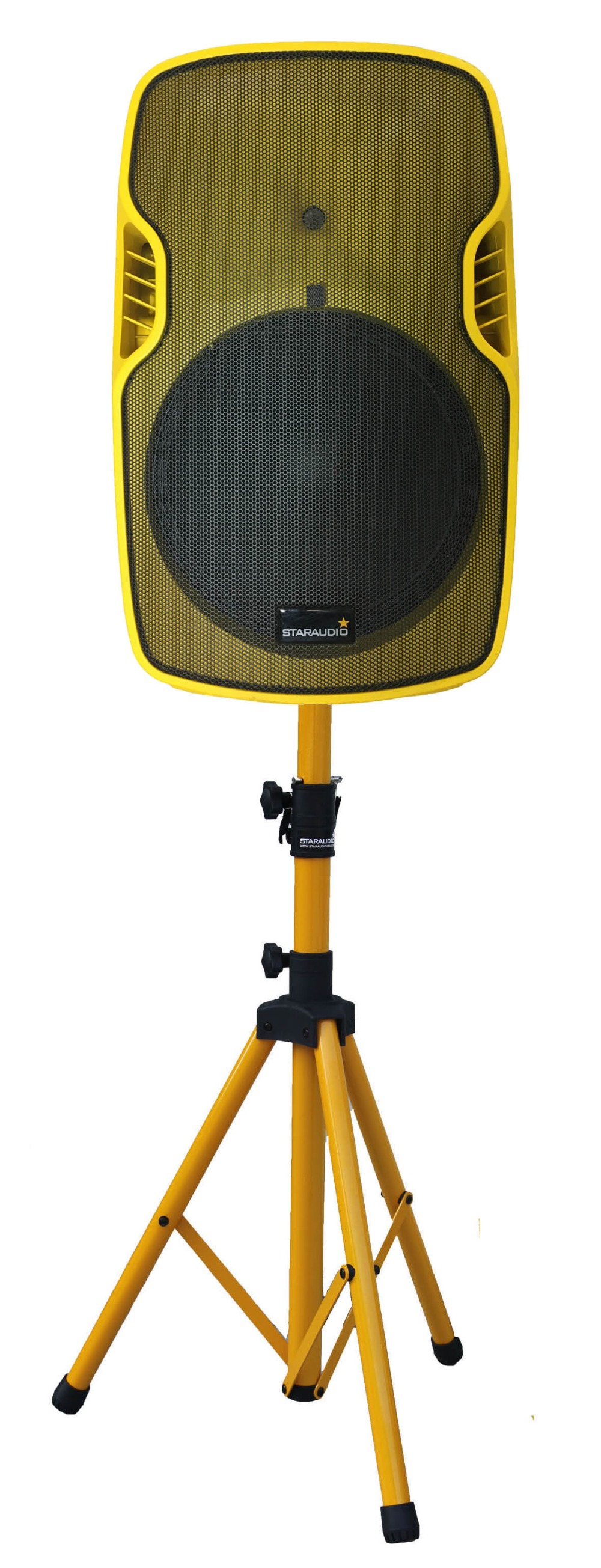15 inch powered pa dj stage yellow speaker usb bluetooth audio party stage speaker with speaker stands