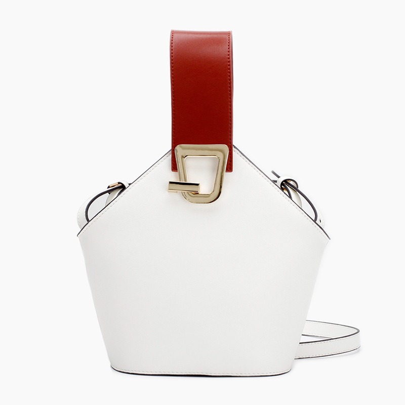Leather Wide Shoulder Bag Design Bucket Package 2018 New Product Simple Collision Color Hand-moving Female Bag