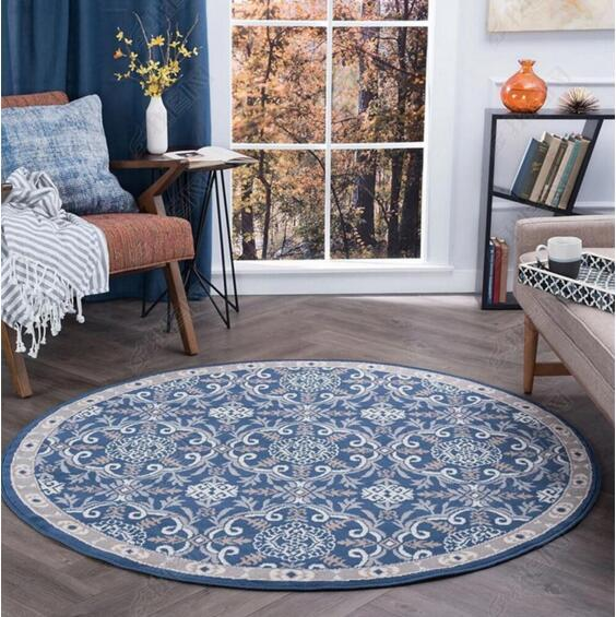 Colorful Patterned Retro Round Bedroom Carpet