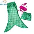 Lindo qualidade do bebê Cosplay Sereia Define Conjuntos de Saia Fishtail Princesa Ariel Fantasia Verde Dos Miúdos para a Menina Crianças Quentes Terno