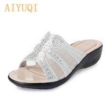 AIYUQI 2019 womens summer flip flop Outdoor glittering rhinestones golden slippers, flat fashion sweet big size 41 42 43 shoes