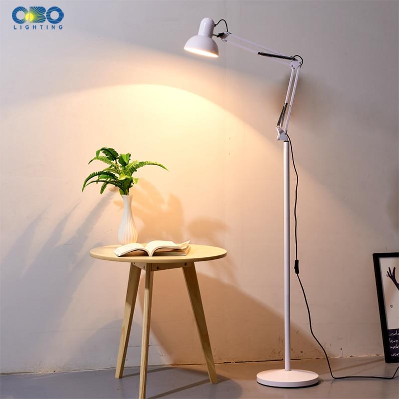 Vintage Flexible Floor Lamps Study Reading Lamp Long Arm Iron Partial illumination Living Sofa Bedroom Workbench Floor Light in Floor Lamps from Lights Lighting