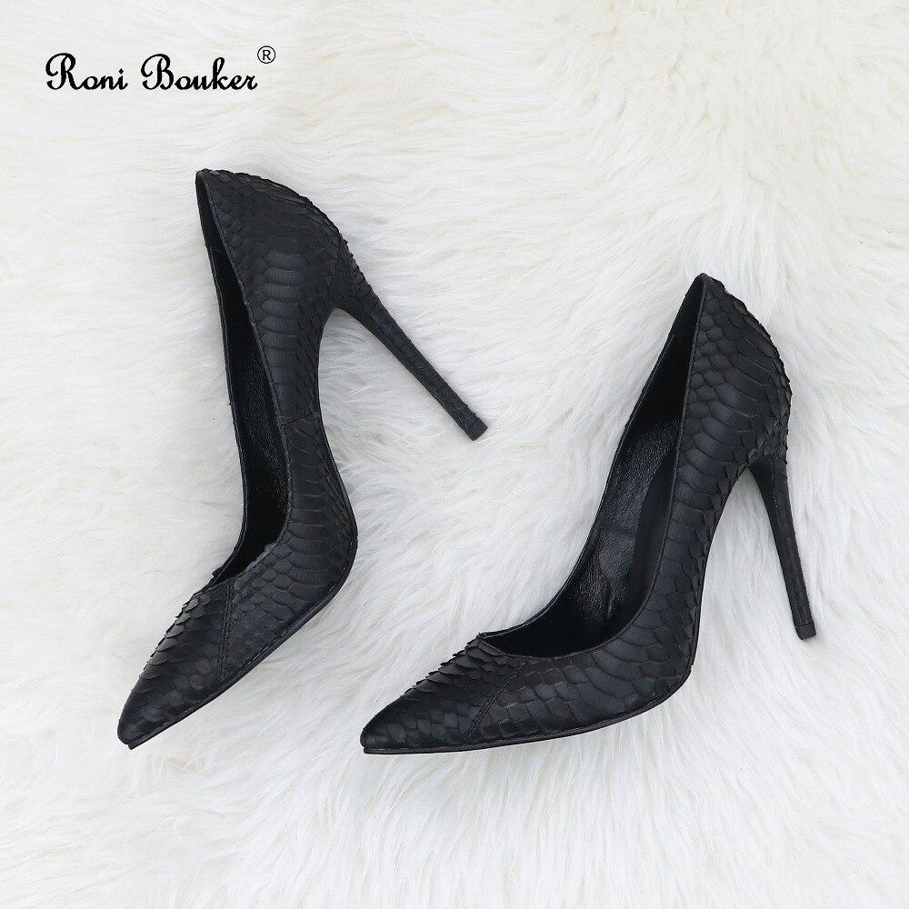 Serpent Size42 Mode Roni Chaussures De Stilettos Femmes Bouker Véritable Grande Noce Bureau Talons Pompes gold red Pointu Black Peau Femme Orteil TT8Xqr