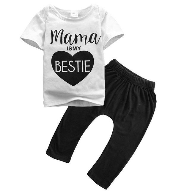 8f495ba1b610 Newborn baby boys girls clothes set Mama t shirt long pant 2pcs kids girls  clothing summer short sleeve t shirt + pant baby sets