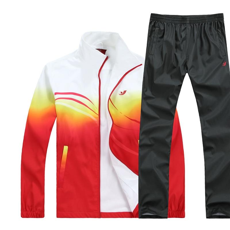 Men's Set New Spring Autumn Men Sportswear 2 Piece Sets Running Suit Jacket+Pant Young Male Fashion Tracksuit Asia Size L-4XL