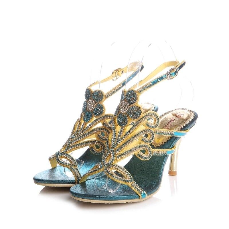 2018 Summer Crystal Rhinestone Wedding Shoes Blue Color Size 11 High Heel Female Roman Sandals Fashion Stiletto Heel Shoes2018 Summer Crystal Rhinestone Wedding Shoes Blue Color Size 11 High Heel Female Roman Sandals Fashion Stiletto Heel Shoes