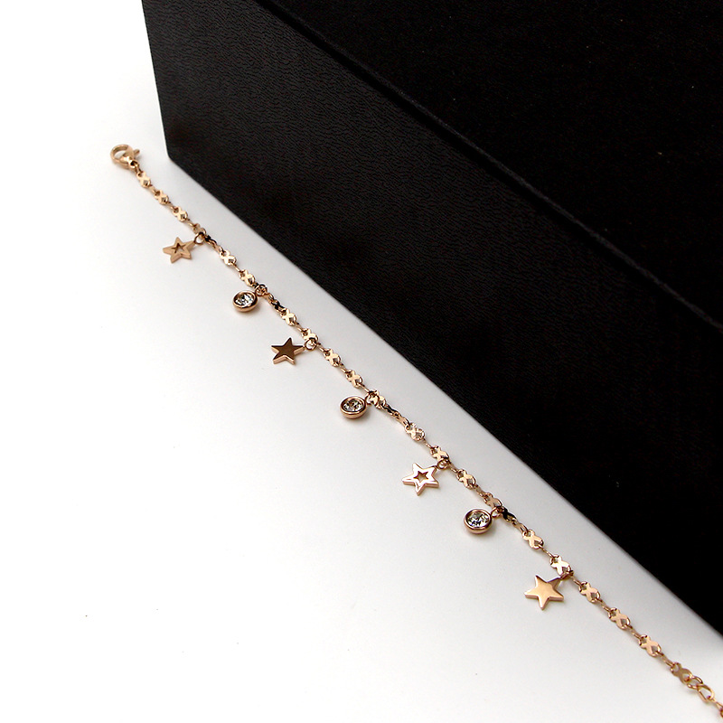 Hot Cute 8 Shape Chain Four Stars Three Crystal Woman Anklets High Quality Titanium Steel Rose Gold Color Woman Like Anklet Gift 4
