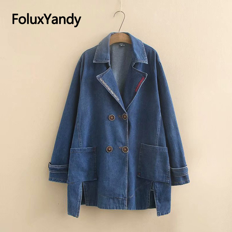 5XL Plus Size   Trench   Casual Coats Outerwear Pockets Double-Breasted Loose Denim   Trench   Coat for Women KKFY3281