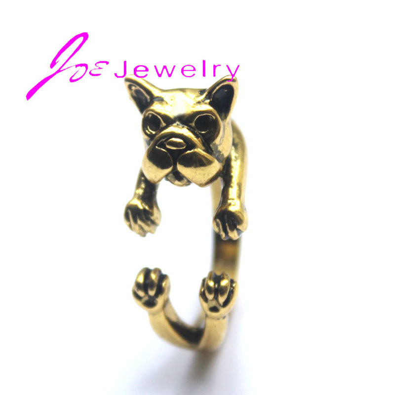 3pcs/lot French Bulldog Dog Wrap Finger Rings Antique Gold Adjustable Ring Jewelry wholesale