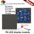 Ao ar livre à prova d' água IP65 SMD P6 cor cheia CONDUZIU módulo 192*192mm 1/8 de Digitalização 32*32 pixels para display LED tela